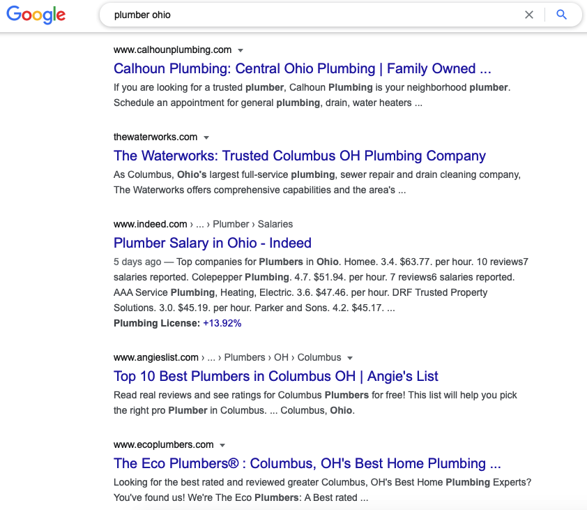 This is what the results for a local seo for plumbers look like
